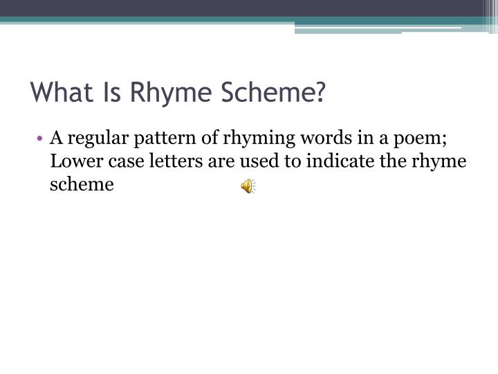 What is rhyme scheme