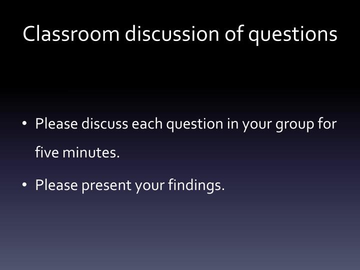 Classroom discussion of questions