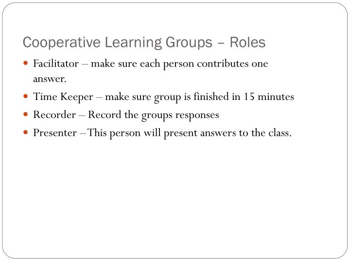 Cooperative Learning Groups – Roles