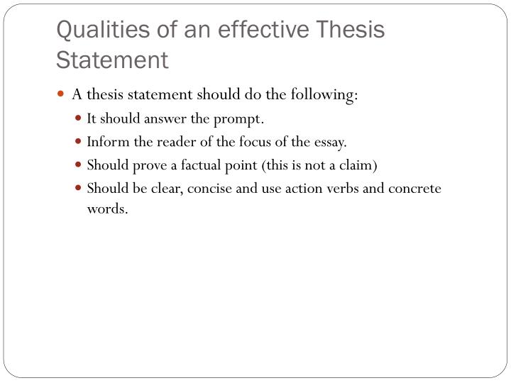 Qualities of an effective Thesis Statement