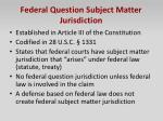 federal question subject matter jurisdiction