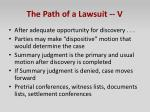 the path of a lawsuit v