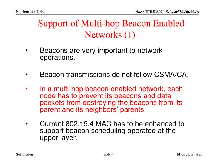 Support of Multi-hop Beacon Enabled Networks (1)