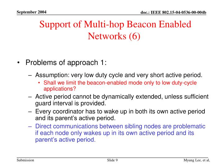 Support of Multi-hop Beacon Enabled Networks (6)