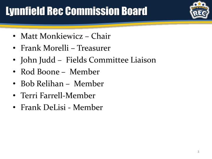 Lynnfield rec commission board