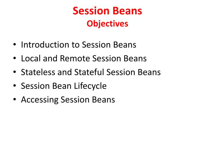 session beans objectives n.