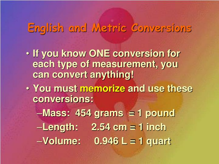 English and Metric Conversions