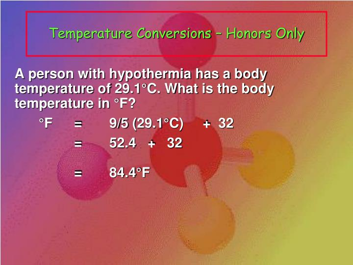 Temperature Conversions – Honors Only