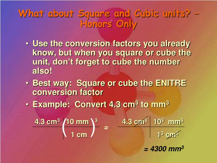 What about Square and Cubic units? – Honors Only