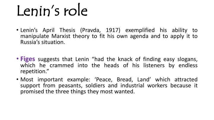 lenins april theses text Basically, no april theses, no october indeed, most mainstream historians, studying memoir literature or contemporary records, have concurred, viewing the it is not the purpose of this article to delve into the debates concerning the precise meaning of leninist or leninism there are already immense.