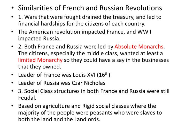 the similarity of the revolutions in mexico and russia Russian revolution and french revolution both the russian revolution and the french revolution are similar in numerous ways the russian revolution contained.