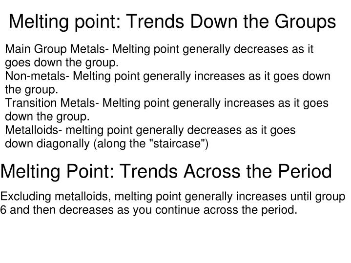 Melting Point: Trends Down The Groups