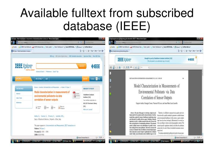 Available fulltext from subscribed database (IEEE)