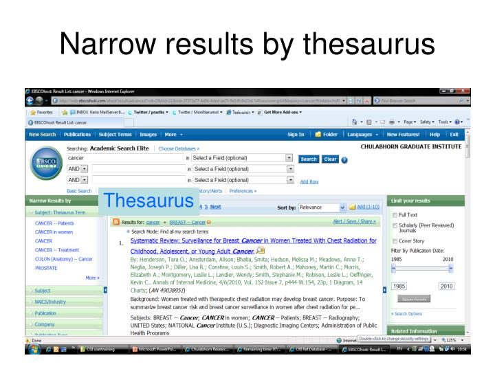 Narrow results by thesaurus