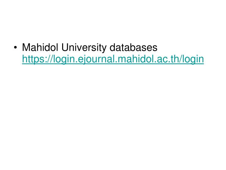 Mahidol University databases