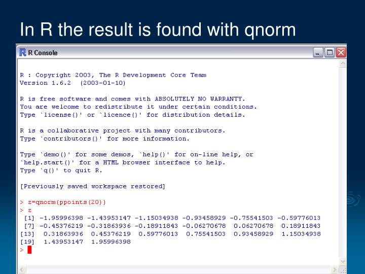 In R the result is found with qnorm
