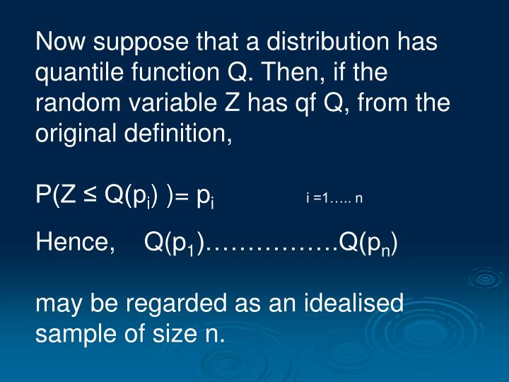 Now suppose that a distribution has quantile function Q. Then, if the random variable Z has qf Q, from the original definition,