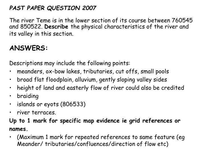 PAST PAPER QUESTION 2007