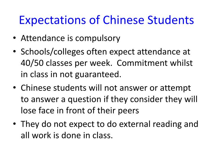 Expectations of Chinese Students