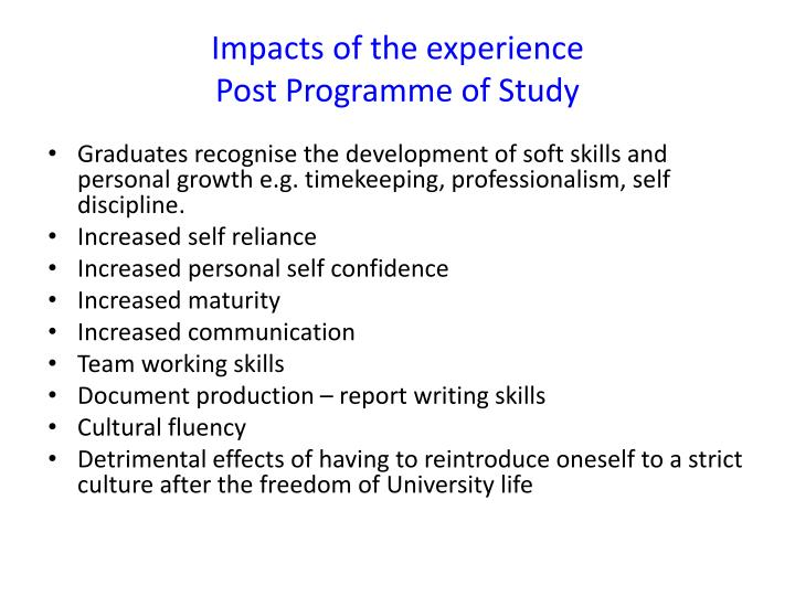 Impacts of the experience