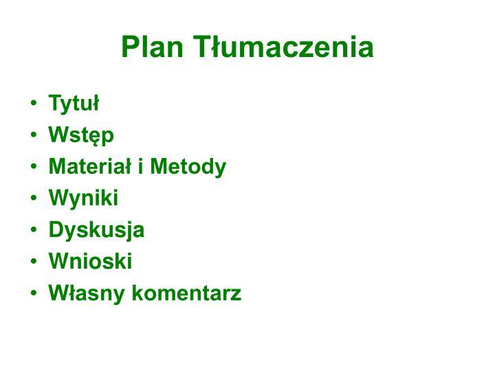Plan Tłumaczenia