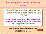recording investments at market value1