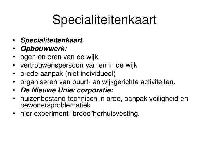 Specialiteitenkaart