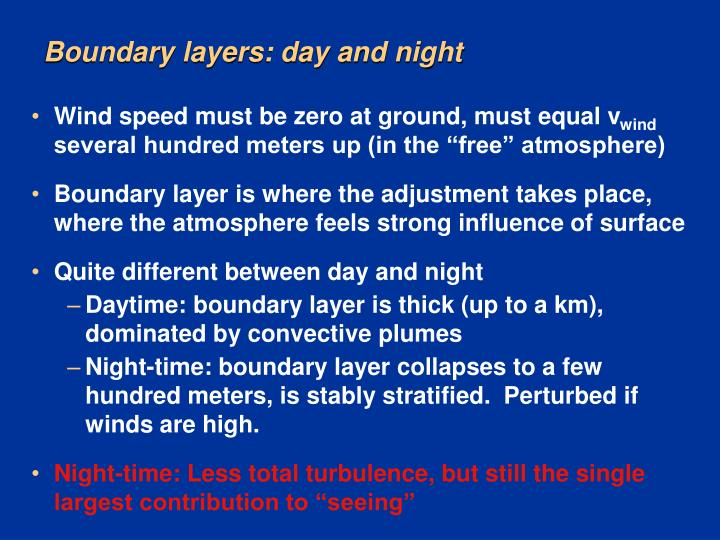 Boundary layers: day and night