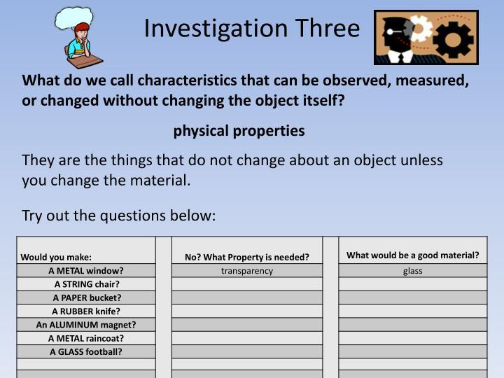 Investigation Three