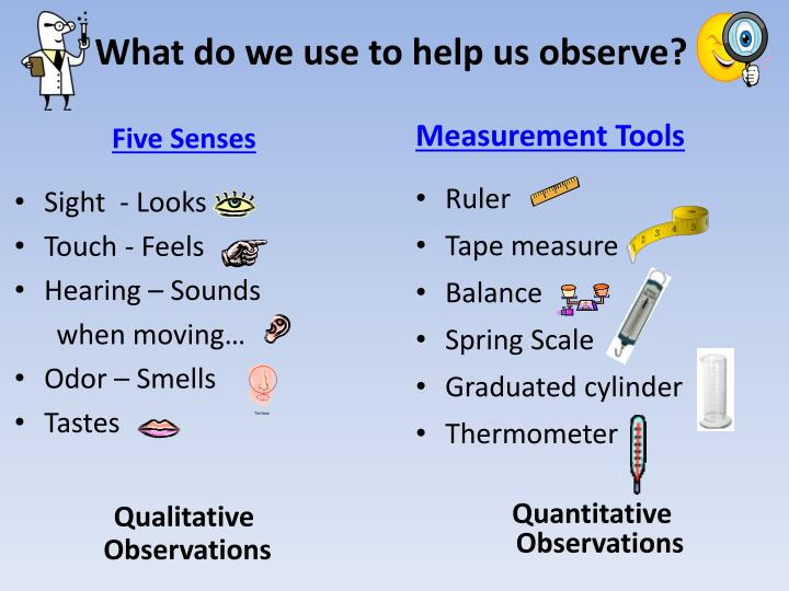 What do we use to help us observe