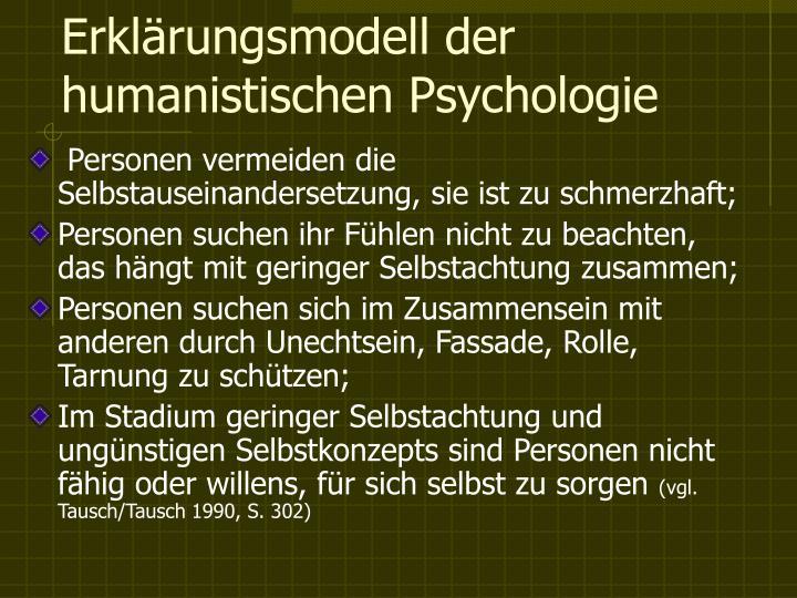 Erklärungsmodell der humanistischen Psychologie