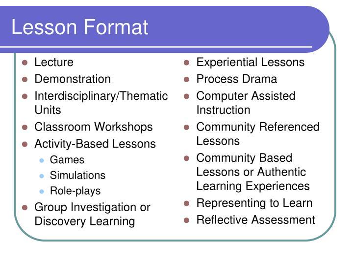 Lesson Format