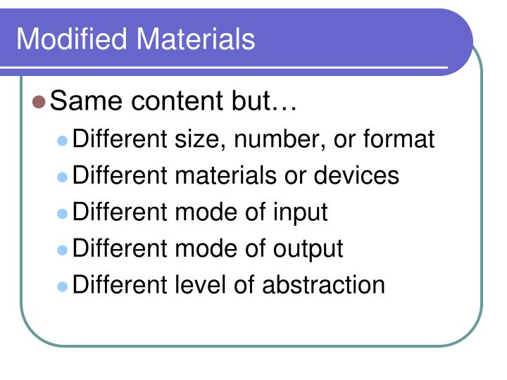 Modified Materials