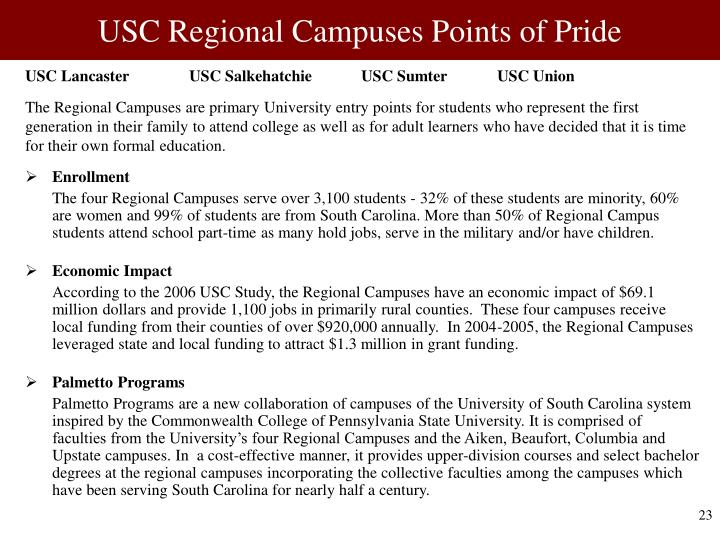 USC Regional Campuses Points of Pride