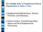 the multiple roles of neighborhood based organizations in today s cities