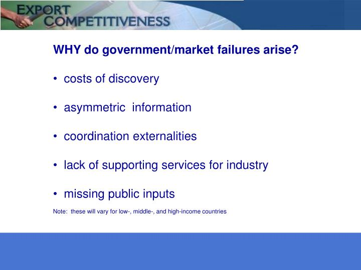 WHY do government/market failures arise?