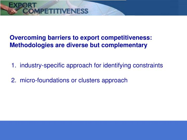 Overcoming barriers to export competitiveness: