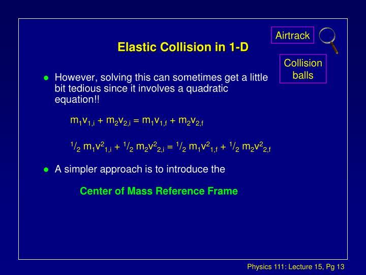 Elastic Collision in 1-D