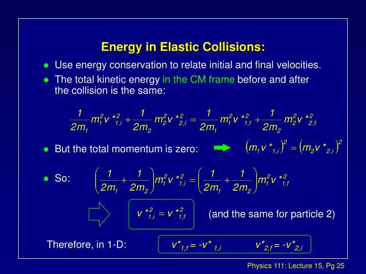 Energy in Elastic Collisions: