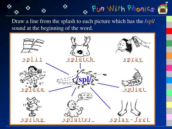 Draw a line from the splash to each picture which has the /