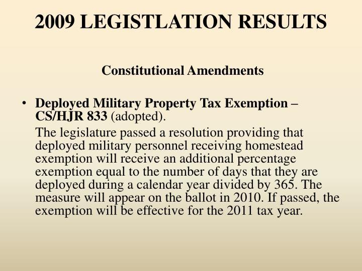 2009 LEGISTLATION RESULTS