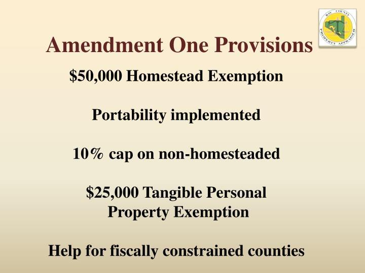 Amendment One Provisions
