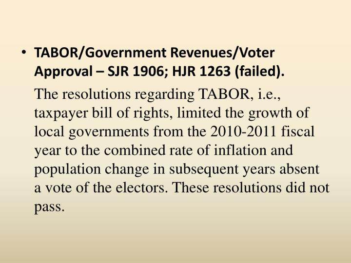 TABOR/Government Revenues/Voter Approval – SJR 1906; HJR 1263 (failed).