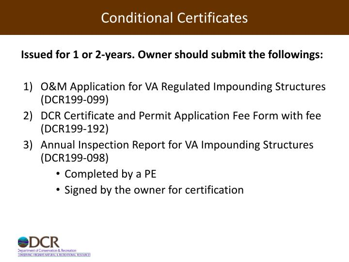 Conditional Certificates