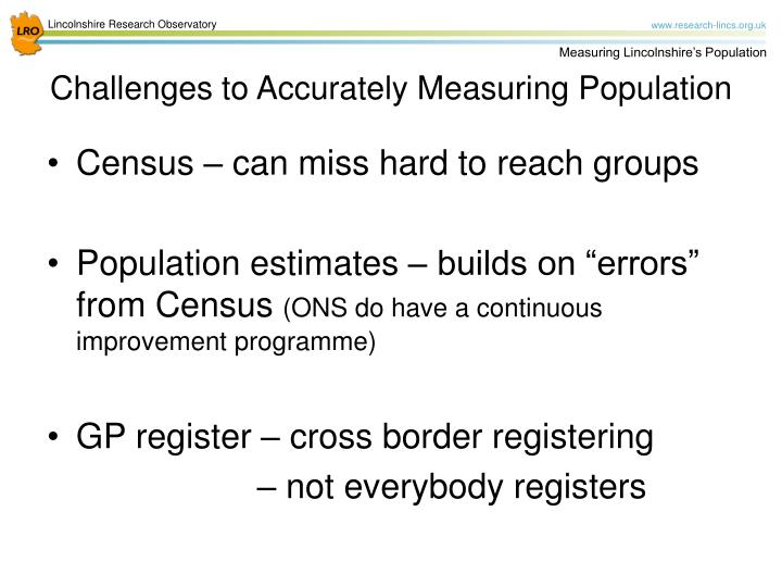 Census – can miss hard to reach groups
