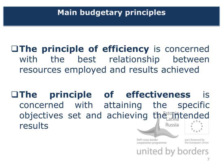Main budgetary