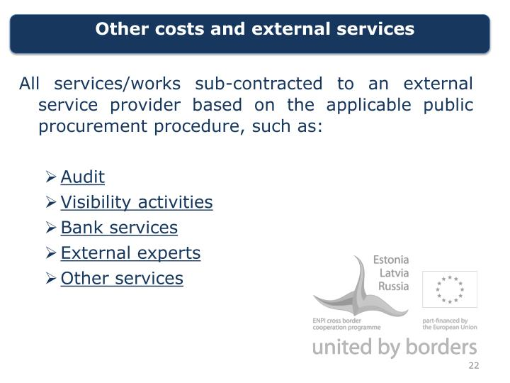 Other costs and external services
