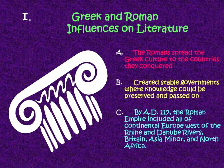 greek and roman influence on western Latin was the lingua franca of the early roman empire and later the western roman empire, while particularly in the east indigenous languages such as greek and to a lesser degree egyptian and aramaic language continued to be in use.