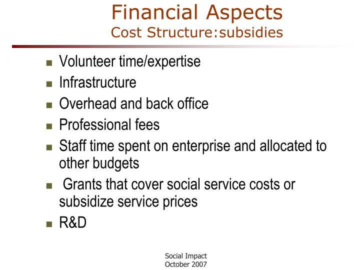 Financial Aspects
