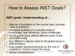 how to assess inst goals